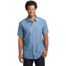 District Made Mens Short Sleeve Washed Woven Shirt DM3810