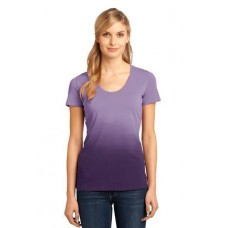 District Made - Ladies Dip Dye Rounded Deep V-Neck Tee DM4310