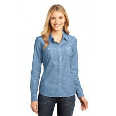 District Made - Ladies Long Sleeve Washed Woven Shirt DM4800